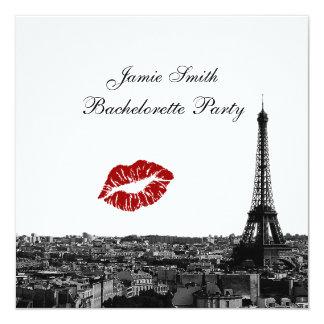 Paris France Skyline Kiss #1 BW Bachelorette 13 Cm X 13 Cm Square Invitation Card