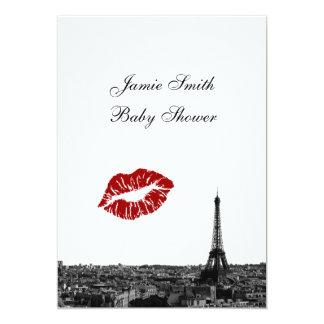 Paris France Skyline Kiss #1 BW V Baby Shower 13 Cm X 18 Cm Invitation Card