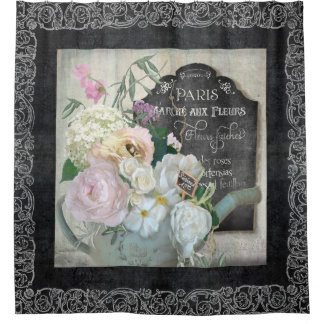 Paris French Floral Market Watering Can Chalkboard Shower Curtain
