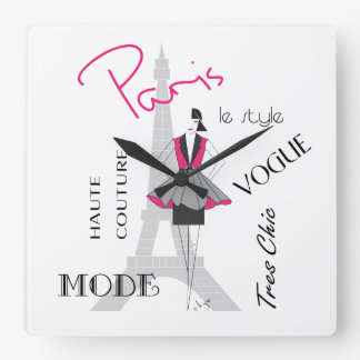 Paris Haute Couture, Fashion, Eiffel Tower Square Wall Clock