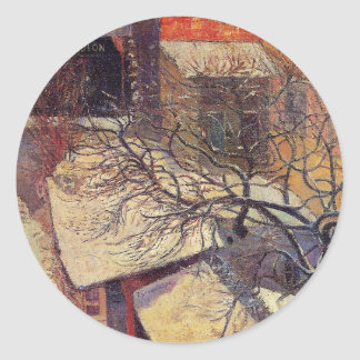 Paris in the snow by Paul Gauguin Classic Round Sticker