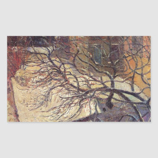 Paris in the snow by Paul Gauguin Rectangular Sticker