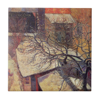 Paris in the snow by Paul Gauguin Small Square Tile