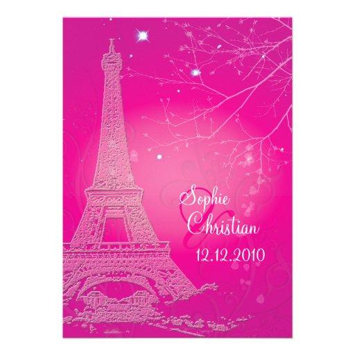Paris la nuit eiffel tower wedding invitations 13 cm x 18 cm invitation card zazzle - Salon des seniors paris invitation ...