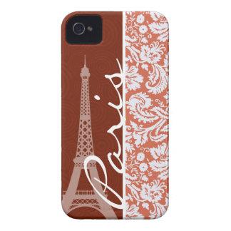 Paris; Orange Damask iPhone 4 Cover