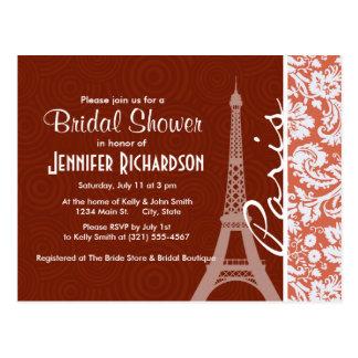 Paris Orange Damask Postcard
