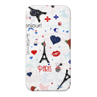 Paris pattern with Eiffel Tower iPhone 4/4S Cases