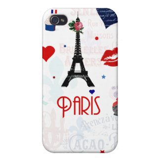 Paris pattern with Eiffel Tower iPhone 4/4S Cover