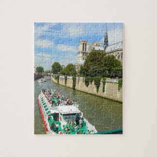 Paris River Tour Boat and Notre Dame Jigsaw Puzzle