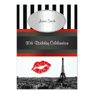 Paris Skyline BW Stripe Red Kiss PV Birthday Party 13 Cm X 18 Cm Invitation Card
