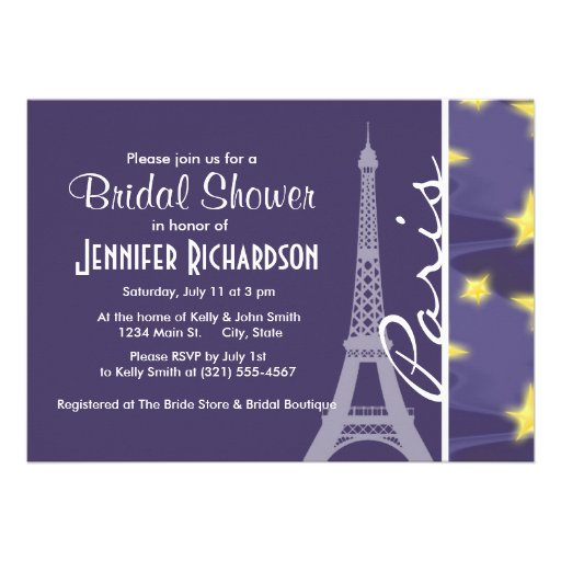 Paris Starry Night; Eiffel Tower Custom Announcement