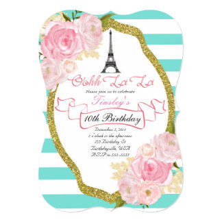 Girls Paris Theme Birthday Invitations Announcements Zazzleconz - Birthday invitation nz