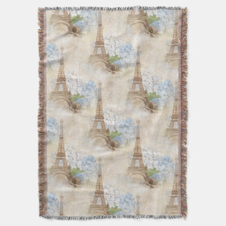 Paris Vintage Blue Hydrangea Throw Blanket