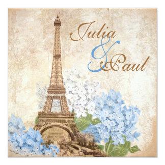 Paris Vintage Blue Hydrangea Wedding Invitation