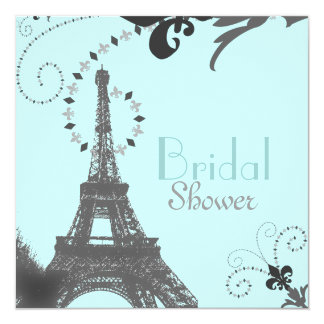 Paris Vintage Bridal Shower Tea Party Invitaiton 13 Cm X 13 Cm Square Invitation Card