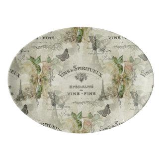 Paris Vintage Wine and Roses Ceramic Platter