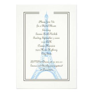 Paris wedding blue Eiffel Tower bridal shower Custom Invitation