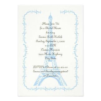 Paris wedding blue Eiffel Tower bridal shower Custom Invitations
