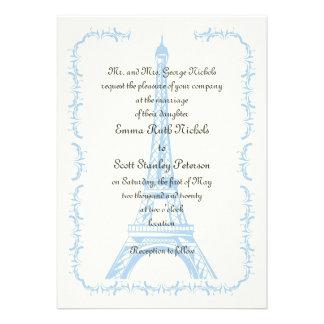 Paris wedding blue Eiffel Tower ivory invitation Personalized Announcement