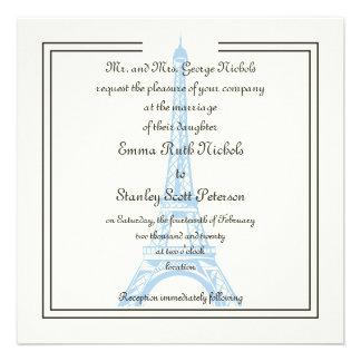 Paris wedding blue Eiffel Tower ivory invitation
