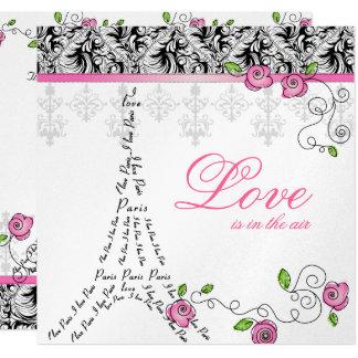 Paris Wedding Invite Pink Roses Silver Black White