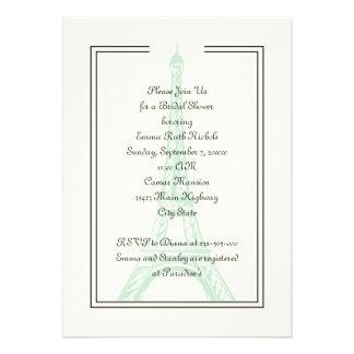 Paris wedding mint Eiffel Tower bridal shower Custom Announcements