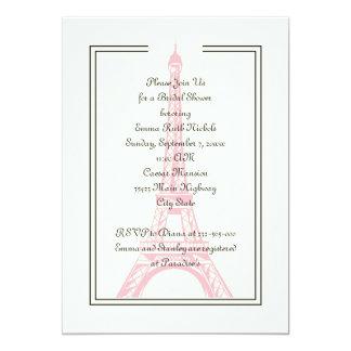 Paris wedding pink Eiffel Tower bridal shower 13 Cm X 18 Cm Invitation Card