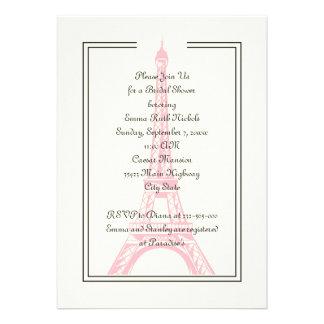 Paris wedding pink Eiffel Tower bridal shower Personalized Announcement