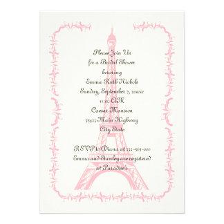 Paris wedding pink Eiffel Tower bridal shower Invite