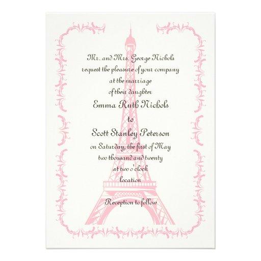 Paris wedding pink Eiffel Tower ivory invitation Custom Invitation