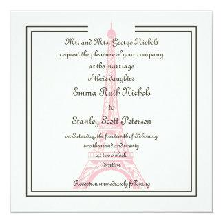 Paris wedding pink Eiffel Tower ivory invitation