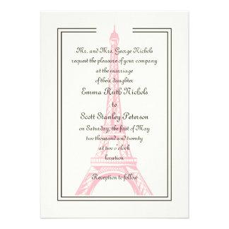 Paris wedding pink Eiffel Tower ivory invitation Custom Invite