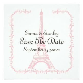 Paris wedding pink Eiffel Tower Save the Date 13 Cm X 13 Cm Square Invitation Card