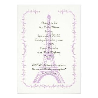 Paris wedding purple Eiffel Tower bridal shower Announcements