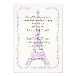 Paris wedding purple Eiffel Tower ivory invitation Custom Announcement