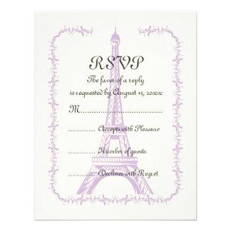 Paris wedding purple Eiffel Tower on ivory RSVP Invitations