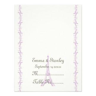 Paris wedding purple Eiffel Tower place card Custom Invites