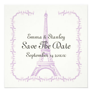 Paris wedding purple Eiffel Tower Save the Date Custom Invites