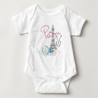 """Paris with Love, Eiffel Tower"" French Baby Bodysuit"