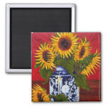 Paris' Yellow Sunflower on Red Background Fridge Magnet