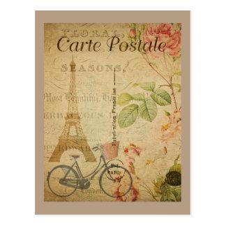 Parisian Vintage With Eiffel Tower Postcard