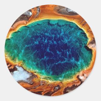 Park Midway Geyser Grand Yellowstone Wyoming Classic Round Sticker