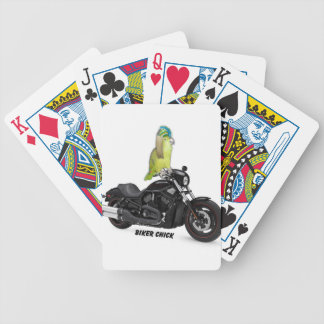 Parrot Biker Chick on Harley Davidson Bicycle Playing Cards