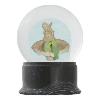 Parrotlets On Fountain Snow Globe