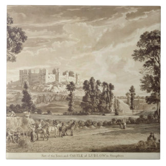Part of the Town and Castle of Ludlow in Shropshir Tile