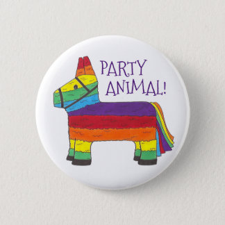 Party ANIMAL Rainbow Donkey Piñata Birthday Fiesta 6 Cm Round Badge