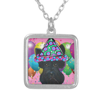 Party Black Scottish Terrier Silver Plated Necklace