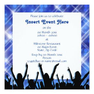 Party blue black white 13 cm x 13 cm square invitation card