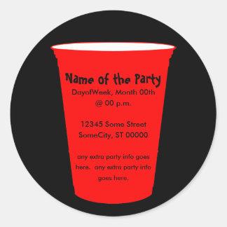 party cup invite classic round sticker