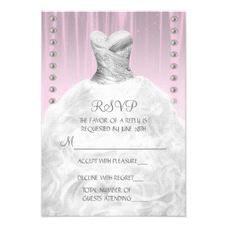 Party Dress and Pearls Pink Quinceanera RSVP Announcements